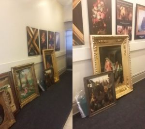 Packing paintings framed with glass