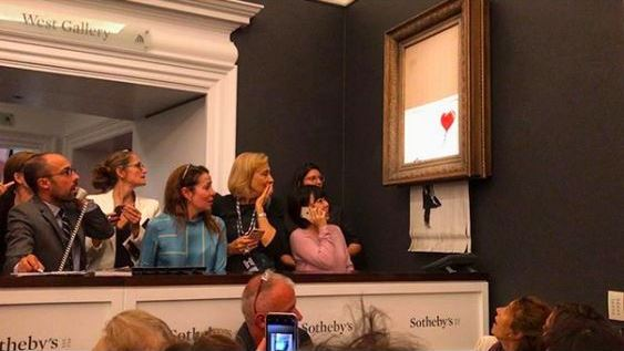 "Banksy's shredded art work ""Girl with Balloon"""