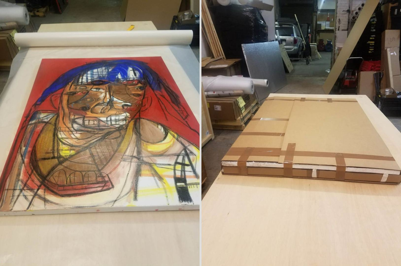 Packing paintings for moving