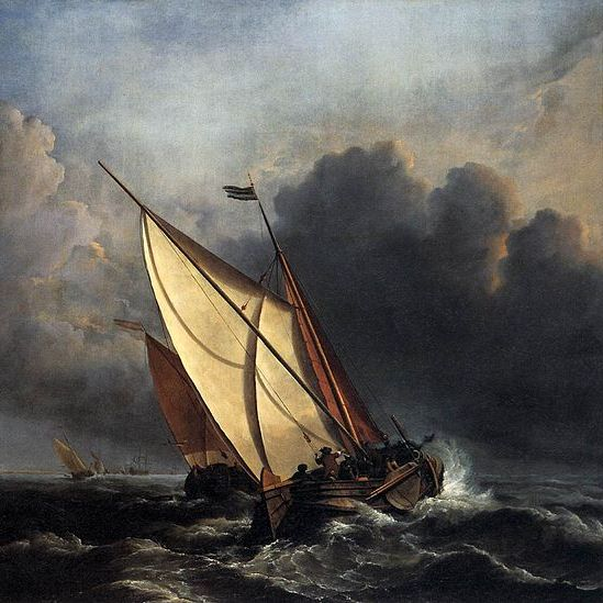 Oil painting of ships