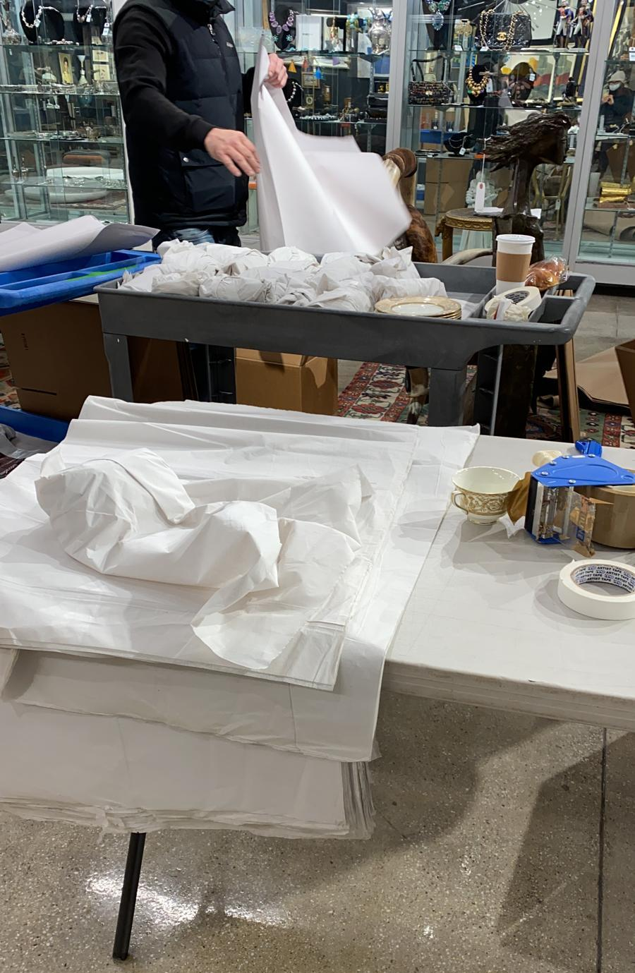Packing Porcelain Pieces at Showplace in New York