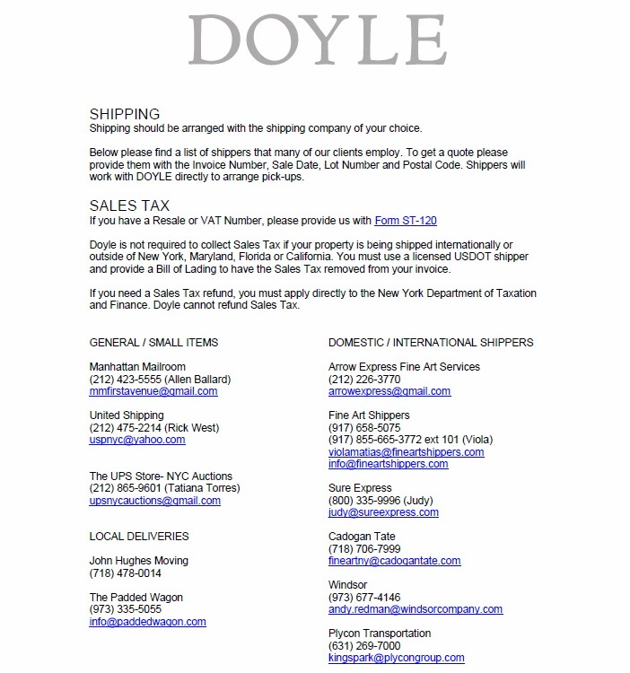Doyle Auctions List of Shippers